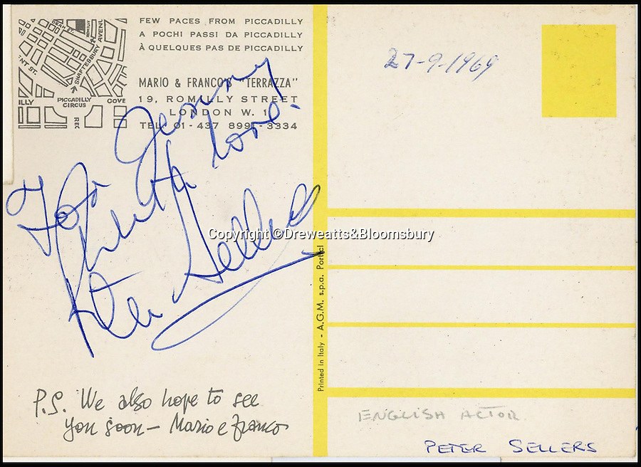 BNPs.co.uk (01202 558833)<br /> Pic: Dreweatts&Bloomsbury/BNPS<br /> <br /> English actor Peter Sellers.<br /> <br /> An Italian waiter's stunning collection of autographs of diners that reads like a Who's Who of celebrities from the Swinging Sixties has emerged for sale. <br /> <br /> The late waiter, named only as 'Dino', worked at the famous La Terrazza restaurant in London's Soho which became a haunt of the great and the good from the showbusiness world.<br /> <br /> His daughter is now set for a £4,000 tip when the impressive collection sells at auction.