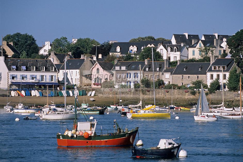 Europe/France/Bretagne/29/Finistère/Sainte-Marine: le port et bateaux de pèche et de plaisance et en fond l'abri du marin