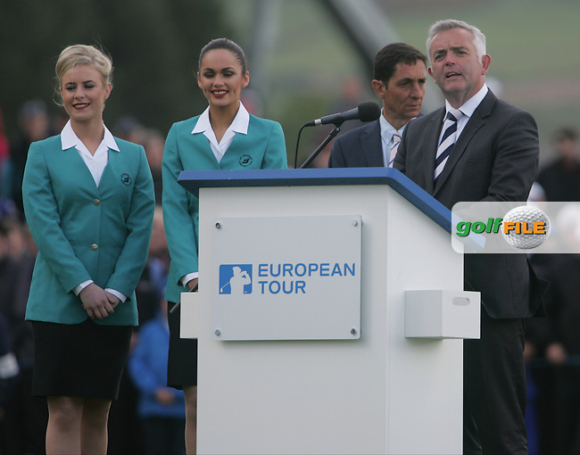 Jonathon Bell, Minister of Enterprise, Trade and investment during the final presentations of the 2015 Dubai Duty Free Irish Open hosted by the Rory Foundation, Royal County Down Golf Club, Newcastle Co Down, Northern Ireland. 31/05/2015<br /> Picture TJ Caffrey, www.golffile.ie