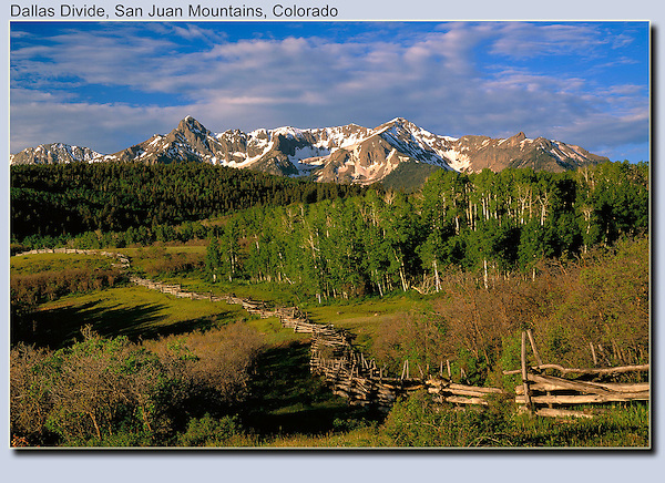 This fence is now gone, ending a classic Colorado image. Sneffels Range at Dallas Divide.<br />