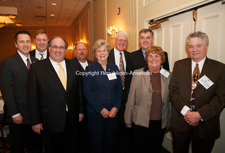 Southbury, CT-23, February 2010-022310CM06  SOCIAL MOMENTS at the 2010 Legislative Dinner at the Crowne Plaza in Southbury.  Attending were: L-R Rob Kane, State Senator 32 District, Ed Rodin, Board of Selectman, Michael Jarjura, Mayor of Waterbury, Thomas Dunn, Mayor of Wolcott, Mary Ann Drayton-Rogers First Selectman of Oxford, Thomas Gormley, First Selectman of Middlebury, Jeffrey Hamel, First Selectman of Bethlehem, Susan Cable, First Selectman of Beacon Falls, and Mayor Bob Chatfield of Prospect. --Christopher Massa Republican-American