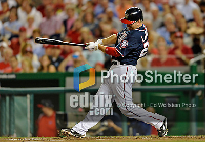 16 May 2012: Washington Nationals first baseman Adam LaRoche connects for his 1000th career hit: a 3-run RBI double against the Pittsburgh Pirates at Nationals Park in Washington, DC. LaRoche, who also homered in his previous at bat, was named Player of the Game as the Nationals defeated the Pirates 7-4 in the first game of their 2-game series. Mandatory Credit: Ed Wolfstein Photo