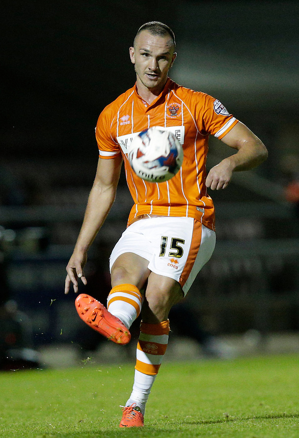 Blackpool's Tom Aldred in action during todays match  <br /> <br /> Photographer Craig Mercer/CameraSport<br /> <br /> Football - Capital One Cup First Round - Northampton v Blackpool - Tuesday 11th August 2015 - Sixfields Stadium - Northampton<br />  <br /> &copy; CameraSport - 43 Linden Ave. Countesthorpe. Leicester. England. LE8 5PG - Tel: +44 (0) 116 277 4147 - admin@camerasport.com - www.camerasport.com
