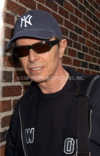 "David Bowie making an appearance on the ""Late Show With David Letterman."" New York, September 22, 2003. Please byline: NY Photo Press.   ..*PAY-PER-USE*      ....NY Photo Press:  ..phone (646) 267-6913;   ..e-mail: info@nyphotopress.com"