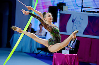 ANNA RIZATDINOVA of Ukraine performs with ribbon at 2016 European Championships at Holon, Israel on June 18, 2016.