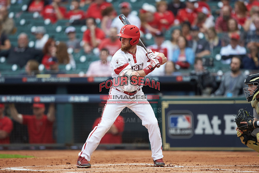 Daniel Lahare (26) of the Louisiana Ragin' Cajuns at bat against the Vanderbilt Commodores in game five of the 2018 Shriners Hospitals for Children College Classic at Minute Maid Park on March 3, 2018 in Houston, Texas.  The Ragin' Cajuns defeated the Commodores 3-0.  (Brian Westerholt/Four Seam Images)