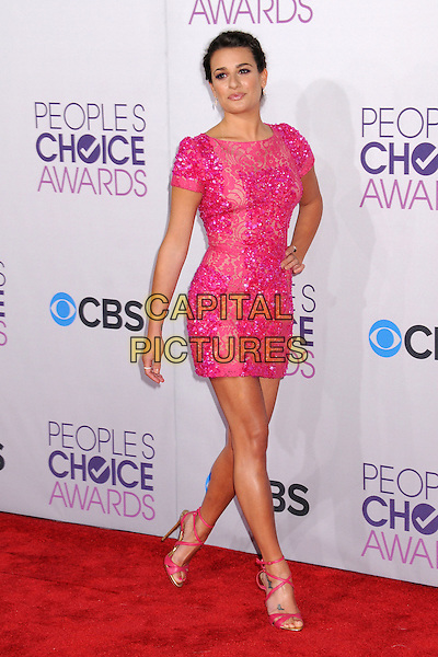 Lea Michele .People's Choice Awards 2013 - Arrivals held at Nokia Theatre L.A. Live, Los Angeles, California, USA..January 9th, 2013.full length pink dress lace sequins sequined beads beaded hand on hip.CAP/ADM/BP.©Byron Purvis/AdMedia/Capital Pictures.