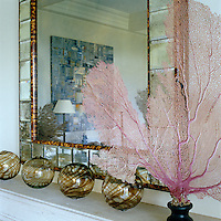 A row of glass baubles and a fan of pink coral decorate the mantelpiece in the living room
