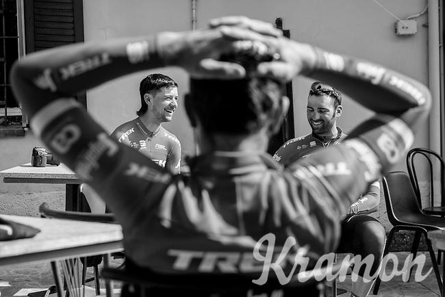 Kiel Reijnen (USA/Trek-Segafredo) & Marco Coledan (ITA/Trek-Segafredo) as 'framed' by John Degenkolb (DEU/Trek-Segafredo)<br /> <br /> pre-race coffee ride (relaxed training day before the race)<br /> 108th Milano - Sanremo 2017