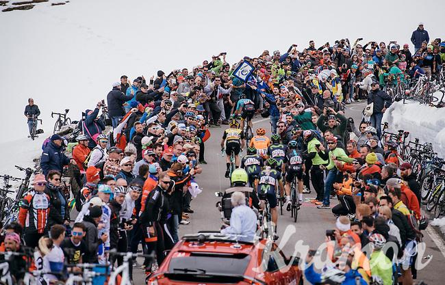 race leaders coming up the Passo dello Stelvio (alt: 2758m) through the snow<br /> <br /> Stage 16: Rovett &rsaquo; Bormio (222km)<br /> 100th Giro d'Italia 2017