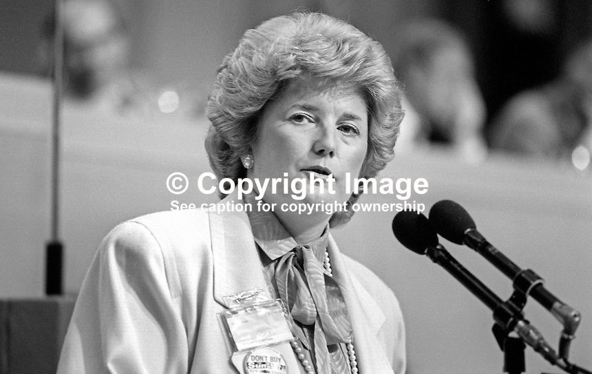Brenda Dean, general secretary, SOGAT 82, trade union, UK, speaking at TUC conference, 19860906BD2<br />