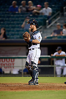New Orleans Baby Cakes catcher Bryan Holaday (28) during a Pacific Coast League game against the Oklahoma City Dodgers on May 6, 2019 at Shrine on Airline in New Orleans, Louisiana.  New Orleans defeated Oklahoma City 4-0.  (Mike Janes/Four Seam Images)