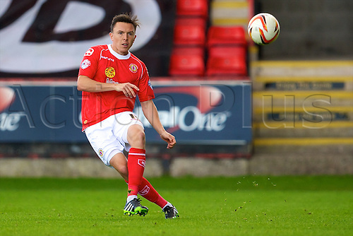 14.09.2013 Crewe, England. Crewe Alexandra defender Gregor Robertson in action during the League One game between Crewe Alexandra and Walsall FC from the Alexandra Stadium