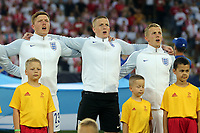 England players belt out the National Anthem before England Under-21 vs Poland Under-21, UEFA European Under-21 Championship Football at The Kolporter Arena on 22nd June 2017