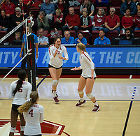 STANFORD, CA - December 1, 2018: Audriana Fitzmorris,Kathryn Plummer, Tami Alade, Meghan McClure at Maples Pavilion. The Stanford Cardinal defeated Loyola Marymount 25-20, 25-15, 25-17 in the second round of the NCAA tournament.