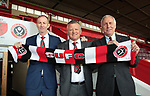 Sheffield Unioted's new manager Chris Wilder with assistant Alan Knill and Chairman Kevin McCabe at Bramall Lane, Sheffield, United Kingdom, 13th May 2016. Photo by Glenn Ashley.