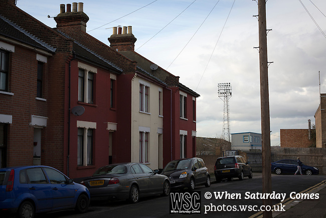 Southend United 1 Burton Albion 1, 22/02/2016. Roots Hall, League One. Roots Hall Avenue, close to the stadium of Southend United, pictured before the club took on Burton Albion in a League 1 fixture at Roots Hall. Founded in 1906, Southend United moved into their current ground in 1955, the construction of which was funded by the club's supporters. Southend won this match by 3-1, watched by a crowd of 6503. Photo by Colin McPherson.
