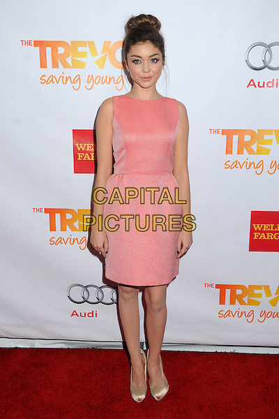 "Sarah Hyland.The Trevor Project's ""Trevor Live"" 2012 held at the Hollywood Palladium, Hollywood, California, USA..December 2nd, 2012.full length dress gold shoes pink hair up bun sleeveless   .CAP/ADM/BP.©Byron Purvis/AdMedia/Capital Pictures."