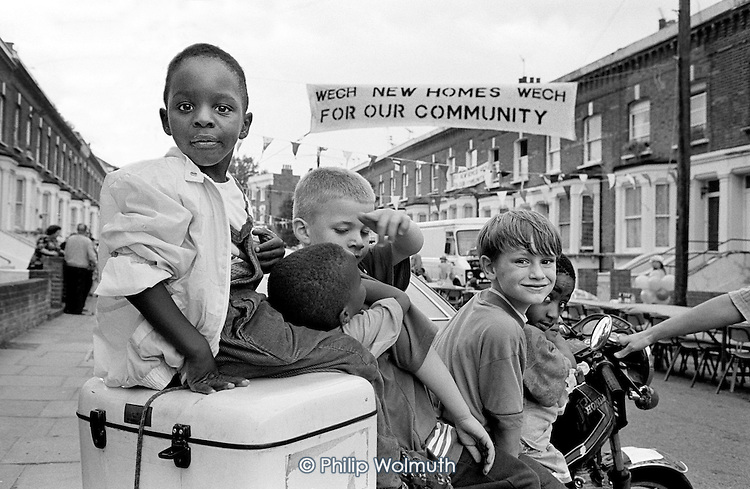 1993:  Street party organised by Walterton and Elgin Community Homes (WECH) to celebrate the first house refurbished by the resident-controlled housing association which took over the estate from Westminster Council.