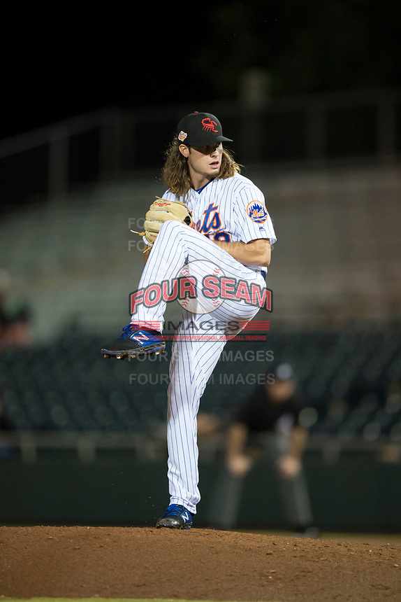 Scottsdale Scorpions relief pitcher Matt Blackham (19), of the New York Mets organization, delivers a pitch during an Arizona Fall League game against the Mesa Solar Sox on October 9, 2018 at Scottsdale Stadium in Scottsdale, Arizona. The Solar Sox defeated the Scorpions 4-3. (Zachary Lucy/Four Seam Images)