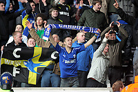 ATTENTION SPORTS PICTURE DESK<br /> Pictured: Cardiff supporters celebrating their win<br /> Re: npower Championship Swansea City FC v Cardiff City FC at the Liberty Stadium, south Wales. Sunday 06 February 2011