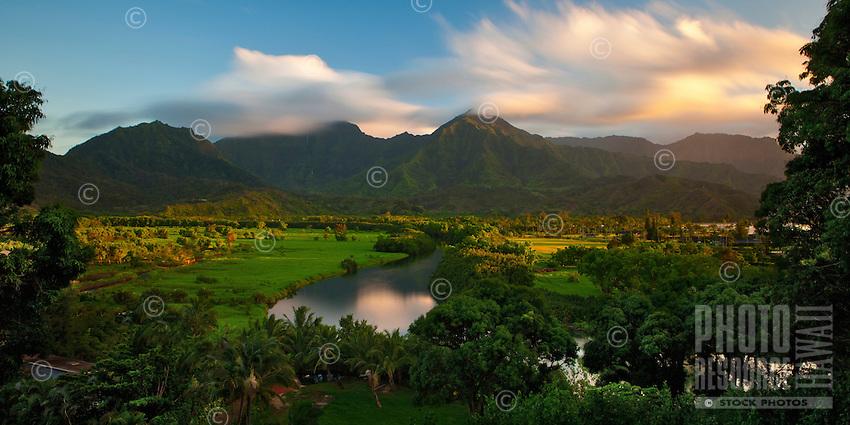 The Hanalei River wanders across the landscape of Hanalei Valley on the island of Kauai