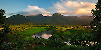 The Hanalei River wanders across the landscape of Hanalei Valley on the island of Kauai