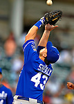 14 September 2008: Kansas City Royals' first baseman Ryan Shealy gets the final out of the game against the Cleveland Indians at Progressive Field in Cleveland, Ohio. The Royal defeated the Indians 13-3 to take the 4-game series three games to one...Mandatory Photo Credit: Ed Wolfstein Photo