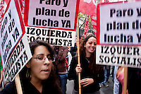 women take part in march during May Day celebrations in Buenos Aires, Argentina on May 1, 2013. Photo by Juan Gabriel Lopera / VIEWpress.
