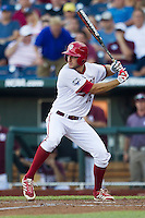 Indiana Hoosiers third baseman Dustin DeMuth (16) at bat against the Mississippi State Bulldogs during Game 6 of the 2013 Men's College World Series on June 17, 2013 at TD Ameritrade Park in Omaha, Nebraska. The Bulldogs defeated Hoosiers 5-4. (Andrew Woolley/Four Seam Images)