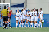 2 October 2011:  FIU's team celebrates a goal by Ashleigh Shim (9) in the first half as the FIU Golden Panthers defeated the University of South Alabama Jaguars, 2-0, at University Park Stadium in Miami, Florida.