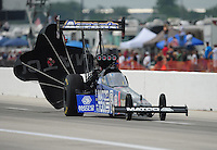 Apr. 29, 2012; Baytown, TX, USA: NHRA top fuel dragster driver Antron Brown during the Spring Nationals at Royal Purple Raceway. Mandatory Credit: Mark J. Rebilas-