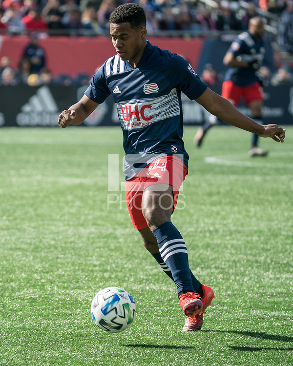 FOXBOROUGH, MA - MARCH 7: DeJuan Jones #24 of New England Revolution approaching the Chicago Fire goal during a game between Chicago Fire and New England Revolution at Gillette Stadium on March 7, 2020 in Foxborough, Massachusetts.