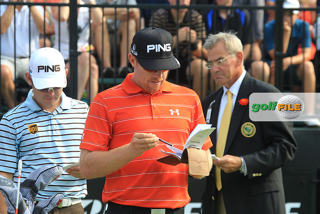 Hunter Mahan (USA) and Louis Oosthuizen (RSA) wait to start their round on the 10th tee during Friday's Round 2 of the 2012 World Golf Championship Bridgestone Invitational at The Firestone Country Club, Akron, Ohio, USA 3rd August 2012 (Photo Eoin Clarke/www.golffile.ie)