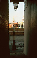 London:  Thameside Walk #17.  St. Paul's from Cardinal Cap Alley.  Photo '90.