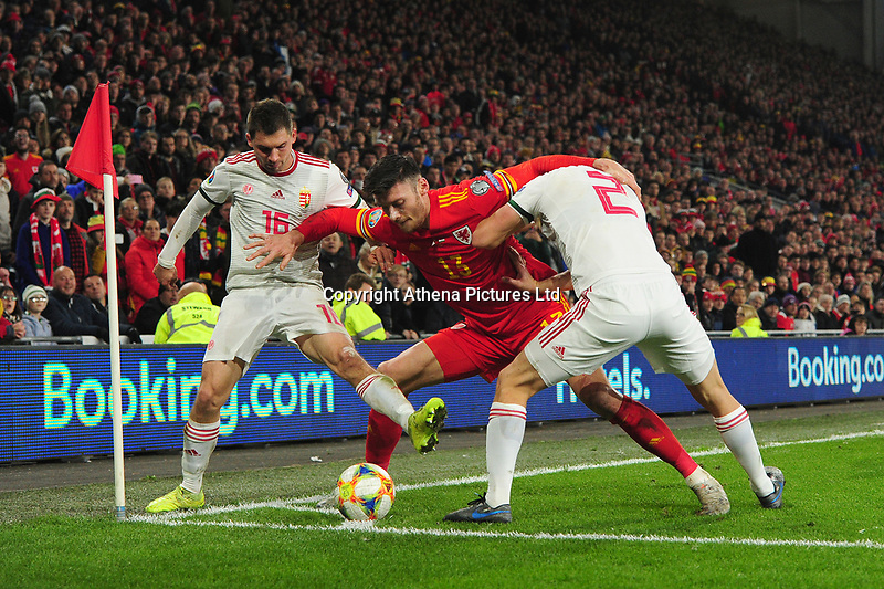 Kiefer Moore of Wales in action during the UEFA Euro 2020 Group E Qualifier match between Wales and Hungary at the Cardiff City Stadium in Cardiff, Wales, UK. Tuesday 19th November 2019