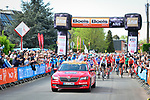 The start of the 83rd edition of La Fl&egrave;che Wallonne 2019, running 195km from Ans to Huy, Belgium. 24th April 2019<br /> Picture: ASO/Gautier Demouveaux | Cyclefile<br /> All photos usage must carry mandatory copyright credit (&copy; Cyclefile | ASO/Gautier Demouveaux)