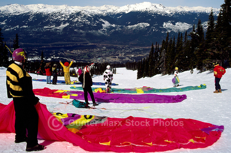 Whistler, BC, British Columbia, Canada - Paraglider at Launch Pad, Paragliding Meet, Blackcomb Mountain (Coast Mountains), Whistler Resort, Winter