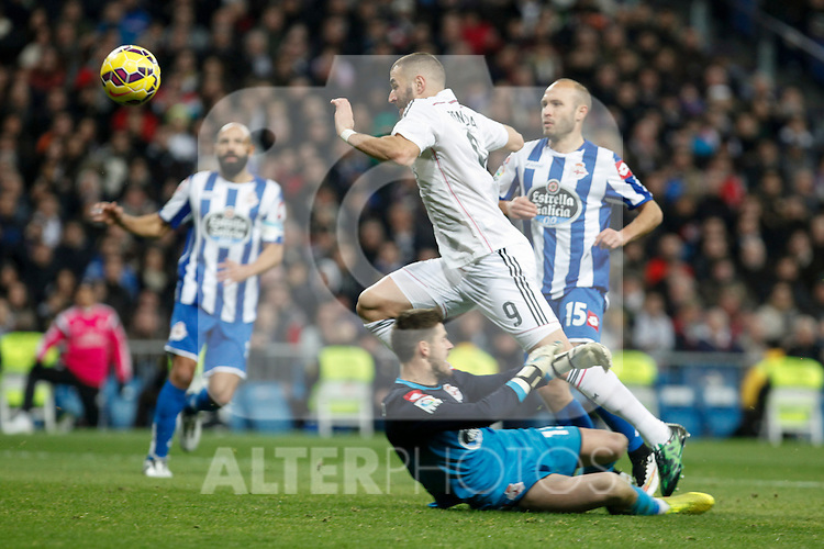 Real Madrid´s Karim Benzema and Deportivo de la Coruna´s Fabricio during La Liga match at Santiago Bernabeu stadium in Madrid, Spain. February 14, 2015. (ALTERPHOTOS/Victor Blanco)