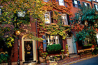 Ivy covered houses on Cedar Street Beacon Hill district Boston Massachusetts USA.