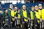 010213--Members of the Oregon Ducks marching band watch a video compilation on a video screen during the Ducks pep rally at Salt River Fields in  Scottsdale, Arizona. .Photo by Jaime Valdez