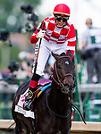 LOUISVILLE, KENTUCKY - MAY 03: Jose Ortiz celebrates aboard Serengeti Empress as he wins the Kentucky Oaks at Churchill Downs in Louisville, Kentucky on May 03, 2019. Evers/Eclipse Sportswire/CSM
