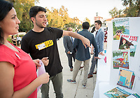 Claudia Biezonsky. Jad Eways was an intern at Council for Watershed Health. Career Services hosts the Summer Experience Expo, where Occidental College student interns from the InternLA program and INT Internship course shared information about the organizations they worked for over the summer. Sept. 7, 2017 at Thorne Hall patio. Employers were also in attendance.<br /> (Photo by Marc Campos, Occidental College Photographer)