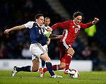 Scott Brown of Scotland tackles Thomas Delaney of Denmark during the Vauxhall International Challenge Match match at Hampden Park Stadium. Photo credit should read: Simon Bellis/Sportimage