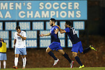 28 November 2015: Creighton's Timo Pitter (GER) (18) celebrates his goal with Ricardo Perez (MEX) (10). The University of North Carolina Tar Heels hosted the Creighton University Bluejays at Fetzer Field in Chapel Hill, NC in a 2015 NCAA Division I Men's Soccer Tournament Third Round match. Creighton won the game 1-0.
