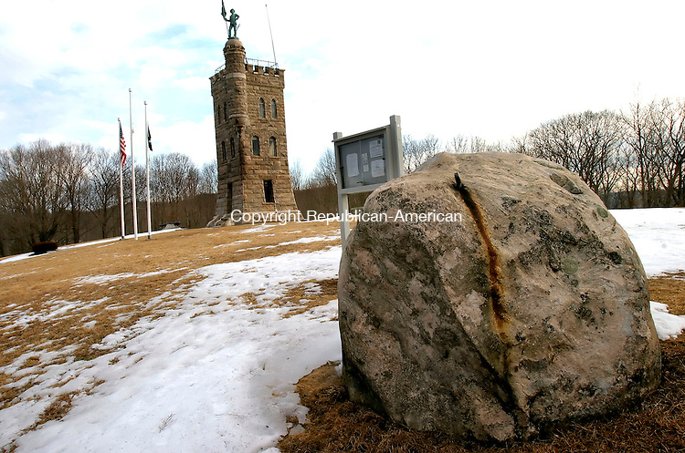 WINSTED, CT--12 MARCH 2007--031207JS02- The large boulder that sits on the site of the Soldiers' Monument and Memorial Park in Winsted, is a place that a young Ralph Nader used to play. In his new book &quot;The Seventeen Traditions&quot; Nader talks about his upbringing in Northwest Connecticut and the values his partens instilled in him.<br /> Jim Shannon / Republican-American