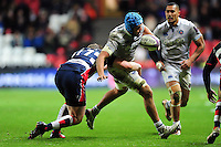 Zach Mercer of Bath Rugby takes on the Bristol Rugby defence. European Rugby Challenge Cup match, between Bristol Rugby and Bath Rugby on January 13, 2017 at Ashton Gate Stadium in Bristol, England. Photo by: Patrick Khachfe / Onside Images