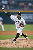 Charlotte Knights starting pitcher Odrisamer Despaigne (26) in action against the Buffalo Bisons at BB&T BallPark on July 24, 2019 in Charlotte, North Carolina. The Bisons defeated the Knights 8-4. (Brian Westerholt/Four Seam Images)