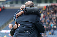 Southend United manager Chris Powell and Blackburn Rovers manager Tony Mowbray at the end of todays match<br /> <br /> Photographer Rachel Holborn/CameraSport<br /> <br /> The EFL Sky Bet League One - Blackburn Rovers v Southend United - Saturday 7th April 2018 - Ewood Park - Blackburn<br /> <br /> World Copyright &copy; 2018 CameraSport. All rights reserved. 43 Linden Ave. Countesthorpe. Leicester. England. LE8 5PG - Tel: +44 (0) 116 277 4147 - admin@camerasport.com - www.camerasport.com