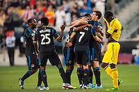 Brian Carroll (7) of the Philadelphia Union celebrates scoring with teammates  during the first half against the Columbus Crew during a Major League Soccer (MLS) match at PPL Park in Chester, PA, on June 5, 2013.